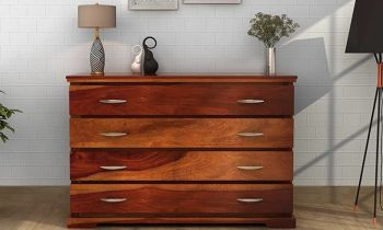 Furny Ronald Teakwood Chest of Drawer (Teak Polish)