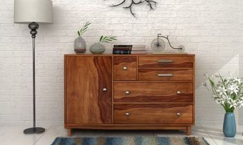 Furny Granger Teakwood Chest of Drawer (Teak Polish)