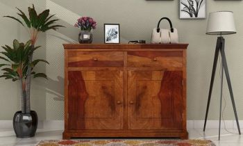 Furny Dellen Teakwood Chest of Drawer (Teak Polish)