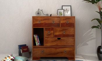 Furny Hendrix Teakwood Chest of Drawer (Teak Polish)