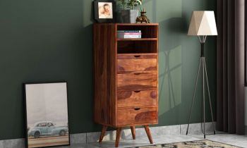 Furny Lisa Teakwood Chest of Drawer (Teak Polish)