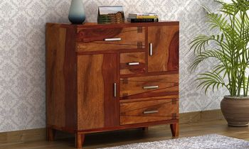 Furny Jonas Teakwood Chest of Drawer (Teak Polish)