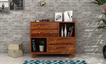 Furny Jenson Teakwood Chest of Drawer (Teak Polish)