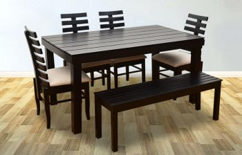 Furny Grace 6 Seater Dining Table Set with Bench