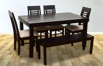 Furny Jacob 6 Seater Dining Table Set with Bench