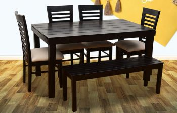 Furny James 6 Seater Dining Table Set with Bench