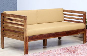 Furny Turner 3 Seater Teakwood Sofa (Teak Polish)