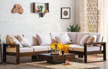 Furny Vernor 5 Seater Corner Teakwood Sofa Set (Teak Polish)