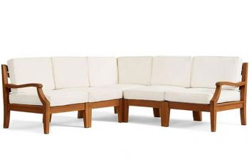 Furny Watson 5 Seater Corner Teakwood Sofa Set (Teak Polish)