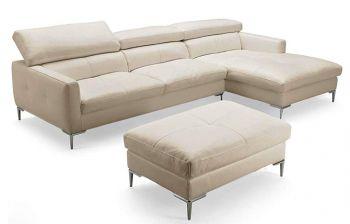 Furny Mosco Four Seater L shape RHS Leatherette Sofa (Cream)