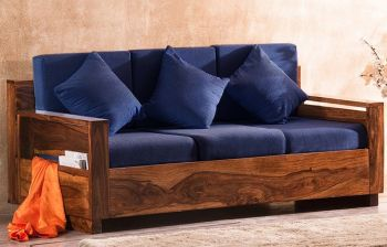 Furny Jones 3 Seater Teakwood Sofa with Fabric Upholstered (Teak Polish)