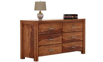 Furny Alenzo Teakwood Chest of Drawer (Teak Polish)