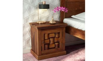 Furny Bricklin Teakwood Bedside Table (Teak Polish)