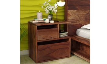 Furny Johny Teakwood Bedside Table (Teak Polish)