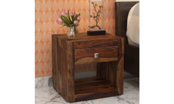 Furny Myra Teakwood Bedside Table (Teak Polish)