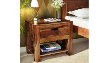 Furny Nexa Teakwood Bedside Table (Teak Polish)