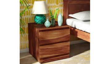 Furny Wrogany Teakwood Bedside Table (Teak Polish)