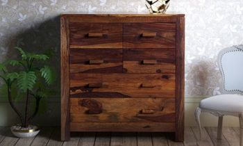 Furny Morgan Teakwood Chest of Drawer (Teak Polish)