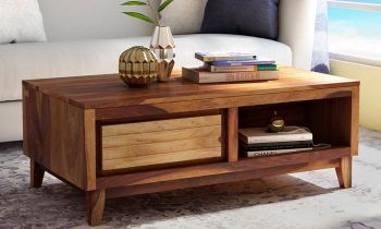 Furny Anley Teakwood Coffee Table (Teak Polish)