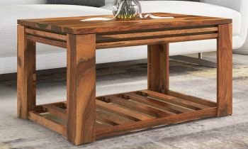 Furny Sherlin Teakwood Coffee Table (Teak Polish)