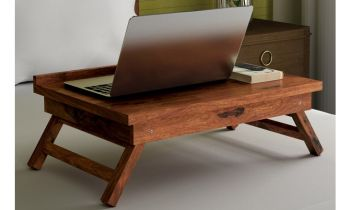 Furny Abbey Teakwood Study Table cum Laptop Stand (Teak Polish)