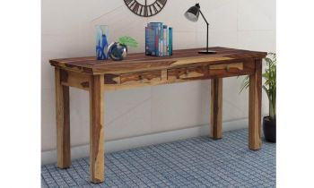 Furny Barley Teakwood Study cum Laptop Table (Teak Polish)