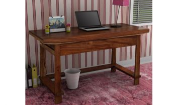 Furny Cambria Teakwood Study & Laptop Table (Teak Polish)