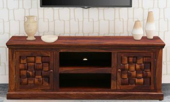 Furny Bricklin Teakwood TV Unit (Teak Polish)