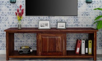 Furny Jaspen Teakwood TV Unit (Teak Polish)
