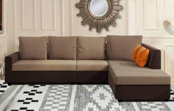Furny Emile 6 Seater L Shape Sofa Set - RHS (Camel-Brown)