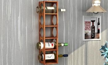 Furny Cosbo Teakwood Wine Rack (Teak Polish)
