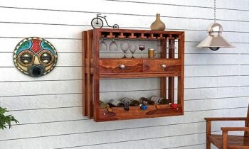 Furny Horizon Teakwood Wine Rack (Teak Polish)