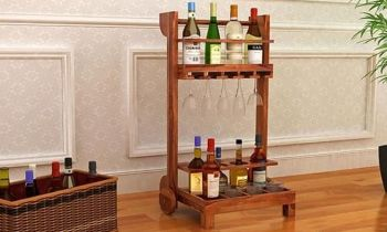 Furny Fiama Teakwood Bar Trolley (Teak Polish)