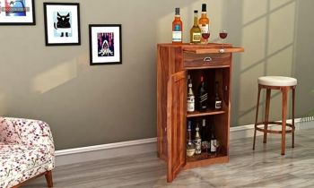 Furny Falston Teakwood Bar Cabinet (Teak Polish)