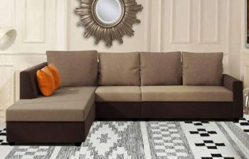 Furny Emile 6 Seater L Shape Sofa Set - LHS (Camel-Brown)