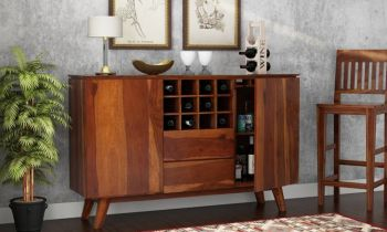 Furny Grove Teakwood Bar Cabinet (Teak Polish)