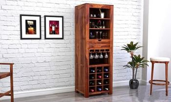 Furny Krikby Teakwood Bar Cabinet (Teak Polish)