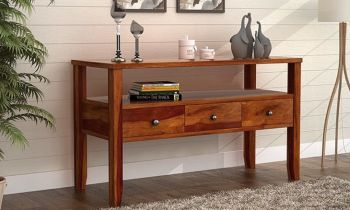 Furny Crest Teakwood Console Table (Teak Polish)