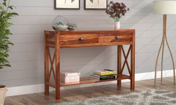 Furny Barton Teakwood Console Table (Teak Polish)