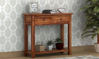 Furny Ascot Teakwood Console Table (Teak Polish)