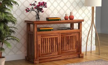 Furny Encika Teakwood Console Table (Teak Polish)