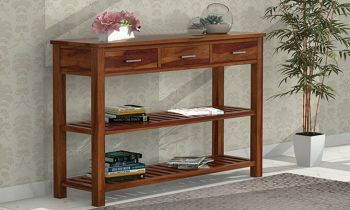 Furny Rosabil Teakwood Console Table (Teak Polish)
