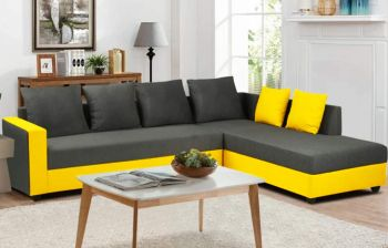 Furny Simona 6 Seater L Shape Sofa Set - RHS (Grey-Yellow)