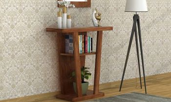 Furny Gloria Teakwood Console Table (Teak Polish)