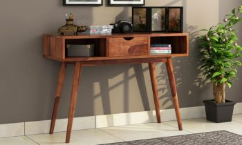 Furny Enora Teakwood Console Table (Teak Polish)