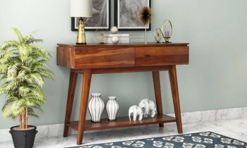 Furny Ballock Teakwood Console Table (Teak Polish)