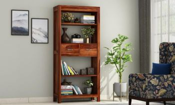 Furny Marino Teakwood Bookshelf (Teak Polish)