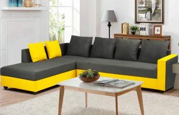 Furny Simona 6 Seater L Shape Sofa Set - LHS (Grey-Yellow)