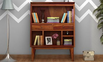 Furny Bartley Teakwood Bookshelf (Teak Polish)