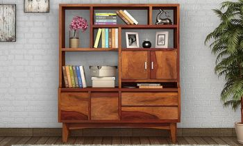 Furny Peralta Teakwood Bookshelf (Teak Polish)
